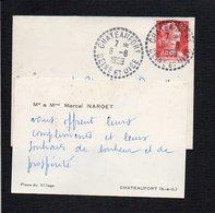 Carte De Visite + Enveloppe De  Mr & Mme Marcel Narget Place Du Village à Chateaufort (Seine Et Oise ) - Cartes De Visite