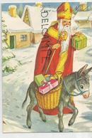 Vive Saint Nicolas. Saint Nicolas, Mitre, Crosse, âne Et Cadeaux Dans Une Rue Enneigée. - Saint-Nicolas