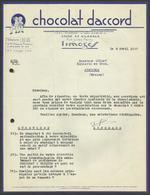 """ CHOCOLAT D'ACCORD "" / LIMOGES 1947 - Food"