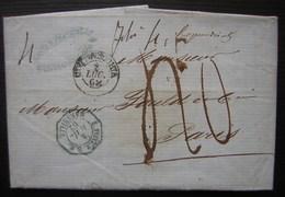 1862 Marque D' Entrée Octogonale Bleue E.PONT.1.S.E. / MARSEILLE + Cachet Civita Vecchia (banco Dello Stato Ponficio) - Marcophilie (Lettres)