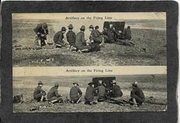 World War 1-Artillery On The Firing Line RPPC 1910s - Antique Real Photo Dbl Postcard - War 1914-18
