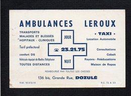 "Carte De Visite Commerciale "" Ambulances Taxi Leroux "" Grande Rue à Dozulé 14 - Cartoncini Da Visita"