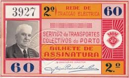 1960 Passe STCP Serviço De Transportes Colectivos Do PORTO Rede Tracção Electrica. Pass Ticket TRAM Portugal 1960 - Abonnements Hebdomadaires & Mensuels