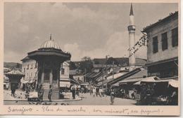 SARAJEVO  PLACE DU MARCHE  SON MINARET - Bosnie-Herzegovine