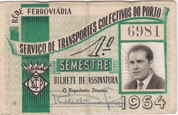 1954 Passe STCP Serviço De Transportes Colectivos Do PORTO Rede Tracção Electrica. Pass Ticket TRAM Portugal 1954 - Abonnements Hebdomadaires & Mensuels