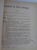 Gesetzblatt Fur Elsass Lothringen 1875 Reich - Décrets & Lois