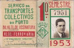 1953 Passe STCP Serviço De Transportes Colectivos Do PORTO Rede Tracção Electrica. Pass Ticket TRAM Portugal 1953 - Abonnements Hebdomadaires & Mensuels
