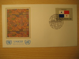 PANAMA New York 1981 FDC Cancel UNICEF Cover UNITED NATIONS UN NY Flag Series Flags Cuna Indian Mola - Panama