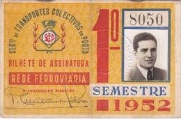 1952 Passe STCP Serviço De Transportes Colectivos Do PORTO Rede Tracção Electrica. Pass Ticket TRAM Portugal 1952 - Abonnements Hebdomadaires & Mensuels