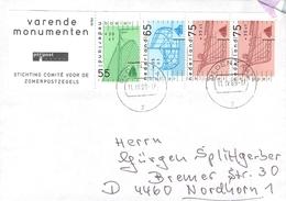 NETHERLANDS - LETTER 1989 OLDENZAAL - NORDHORN/GERMANY Mi #1361-1363 - Period 1980-... (Beatrix)