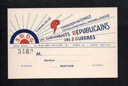 """Carte De Visite Ou Membre (vierge) De La S.R.D.G """"Les Survivants Républicains Des 2 Guerres"""" Anciens Combattants Paris 3 - Cartes De Visite"""