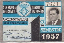 1957 Passe STCP Serviço De Transportes Colectivos Do PORTO Rede Tracção Electrica. Pass Ticket TRAM Portugal 1957 - Abonnements Hebdomadaires & Mensuels