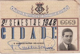 1948 Passe STCP Serviço De Transportes Colectivos Do PORTO Rede Tracção Electrica. Pass Ticket TRAM Portugal 1948 - Abonnements Hebdomadaires & Mensuels