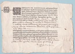 1675 - Règne De Louis XIV - Acte De Mariage Célébré Par Le Primat Des Gaules (archevêque De Lyon) Camille De Neuville - Manuscrits