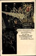 Artiste Lithographie Leipzig, Regierungsjubiläum, Geburtstag Roi Albert V. Saxe 1898, Feuerwerk, BBOL - Familles Royales