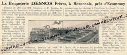 Ancienne Publicité (1926) : Briqueterie Desnos Frères, Bezonnais Près D'Ecommoy (Sarthe), L'usine - Publicités