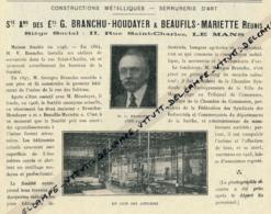 Ancienne Publicité (1926) : Ets Branchu-Houdayer & Beaufils-Mariette, Rue Saint-Charles, Le Mans, Serrurerie D'Art - Publicités