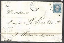 France Lettre Du 27 Juin 1857 De Mimizan  Avec Origine Rurale  Pour Mont De Marsan - 1853-1860 Napoléon III.