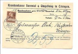 SUISSE SCHWEIZ LU  Carte Envoyé De Triengen à Triengen En 1915 Krankenkasse Surental - Switzerland