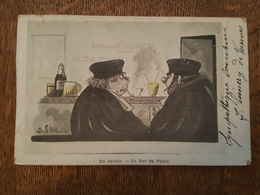 Illustrateur S. D'Ail - En Justice - Le Bar Du Palais - Juge, Avocat - Fumeur De Pipe - Illustrateurs & Photographes