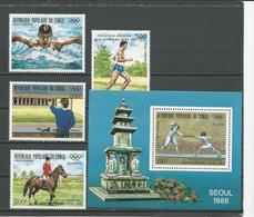 CONGO Scott C387-C390 C391 Yvert PA381-PA384 BF43 (4+bloc) ** Cote 15,80 $ 1988 - Congo - Brazzaville