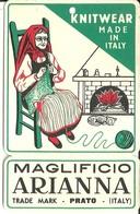 """1912 """"MAGLIFICIO ARIANNA-PRATO"""" ETICHETTA  ORIG. - Vecchi Documenti"""