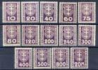 DANZIG 1921-22 Postage Due Set LHM / *.  Michel 1-14, SG D84-106 - Danzig