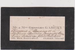 Vieux Papier : Carte De  Visite : Orne à FLERS , Rue  Saint  Jean ,  GAHERY - Cartes De Visite