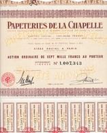 Th3LOT (4 Titres) : PAPETERIES : LA CHAPELLE - Act. De 7000 F.1958  (30) - Actions & Titres