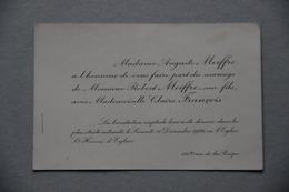 Faire-part Mariage, 1926 ( Paris, Eglise St-Honoré D'Eylau) - Mariage