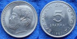 """GREECE - 5 Drachmai 1980 """"Aristotle"""" KM# 118 - Edelweiss Coins - Griechenland"""