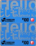 Hong Kong - Two Different Phonecards, Remote, Hello (blue), 100 HK$, Exp. 31/7/96 & 31/3/98, Used - Hong Kong