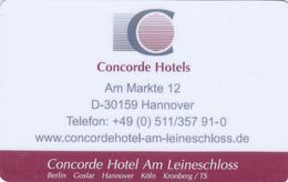 Hotel Key Card  - - -  Germany  - - -  Concorde Hotel Hannover - Hotelkarten