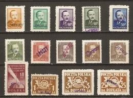 Pologne 1950 - Petit Lot De 14 Timbres MNH Surchargés GROSZY - Dévaluation - Président Bierut - 1944-.... République