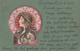 ART NOUVEAU : PORTRAIT De JEUNE FEMME Style MUCHA / BASCH ? - FORERUNNER - MAILED In 1902 - SUPERBE Et RARE ! (aa243) - Illustrators & Photographers
