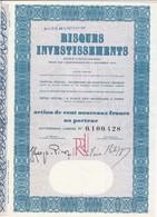 Th3LOT (2 Titres) : RISQUES INV. : Action De 100 Frs1962  (35) - Actions & Titres