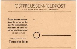 Allemagne/Reich Carte Feldpost  Ostpreussen-Felpost Neuve **. Rare! TB. A Saisir! - Allemagne