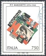 Italia, 1996 Filippo T. Marinetti, 750L # Sassone 2196 - Michel 2416 - Scott 2062  USATO - 1946-.. République