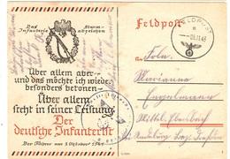 """Allemagne/Reich Carte Feldpost  Propagande """"Des Deutsche Infanterie"""" Oblitérée De 1943. B/TB. A Saisir! - Allemagne"""