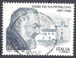 Italia, 1998  Padre Pio, 800L # Sassone 2369 - Michel 2589 - Scott 2256  USATO - 1946-.. République