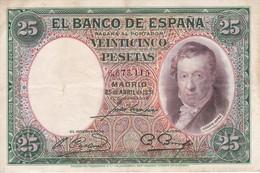 BILLETE DE ESPAÑA DE 25 PTAS DEL AÑO 1931 SIN SERIE EN CALIDAD BC - [ 2] 1931-1936 : Republiek