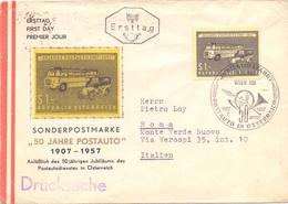 OSTERREICH POSTAUTO 1957 WIEN FDC  FANTASTIC COVER   (NOV180207) - Poste & Postini