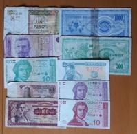 10 Different Used Banknotes LOT 12 Bulgaria Cuba Croatia Macedonia Ukraine Yugoslavia - Monnaies & Billets