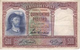BILLETE DE ESPAÑA DE 500 PTAS DEL AÑO 1931 SIN SERIE CALIDAD  RC - [ 1] …-1931 : Primeros Billetes (Banco De España)