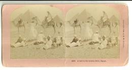 "1924 ""A HALT IN THE DESERT,CAIRO,EGYPT"" CARTOLINA ORIGINALE - Cartes Stéréoscopiques"