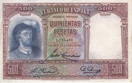 BILLETE DE ESPAÑA DE 500 PTAS DEL AÑO 1931 SIN SERIE CALIDAD  MBC - [ 1] …-1931 : Primeros Billetes (Banco De España)