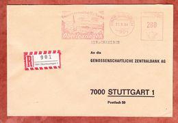 Einschreiben Reco, Absenderfreistempel, Genossenschaftsbank, 280 Pfg, Oberteuringen 1984 (61168) - BRD
