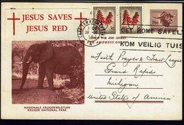 AFRIQUE Du SUD - 1963 - Entier Postal Illustré 1 Et Demie + 2 Ct De Cape Tow Pour Grand Rapids -  Eglise Evangéliste - - Afrique Du Sud (1961-...)