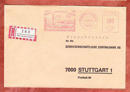 Einschreiben Reco, Absenderfreistempel, Genossenschaftsbank, 280 Pfg, Oberteuringen 1984 (61170) - BRD