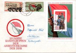 """DDR Schmuck-FDC Mi 1874/75+Block 39 """"20 Jahre Kampfgruppen"""", ETSt RITTERSGRÜN, 11.9.1973 - FDC: Sobres"""